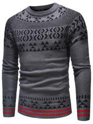 Geometrical Pattern Crew Neck Knitted Sweater -