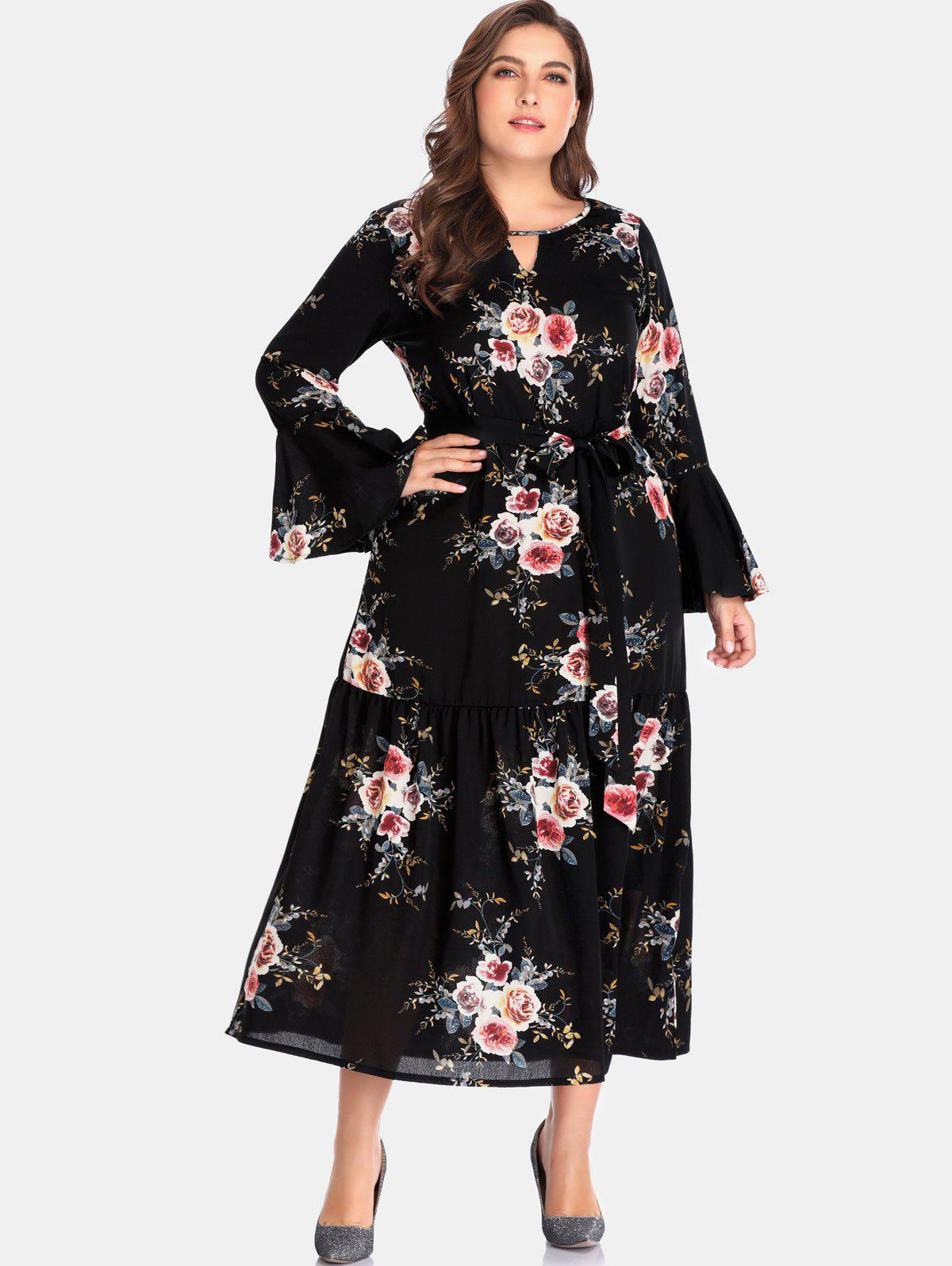 Outfit Floral Long Sleeve Plus Size Dress