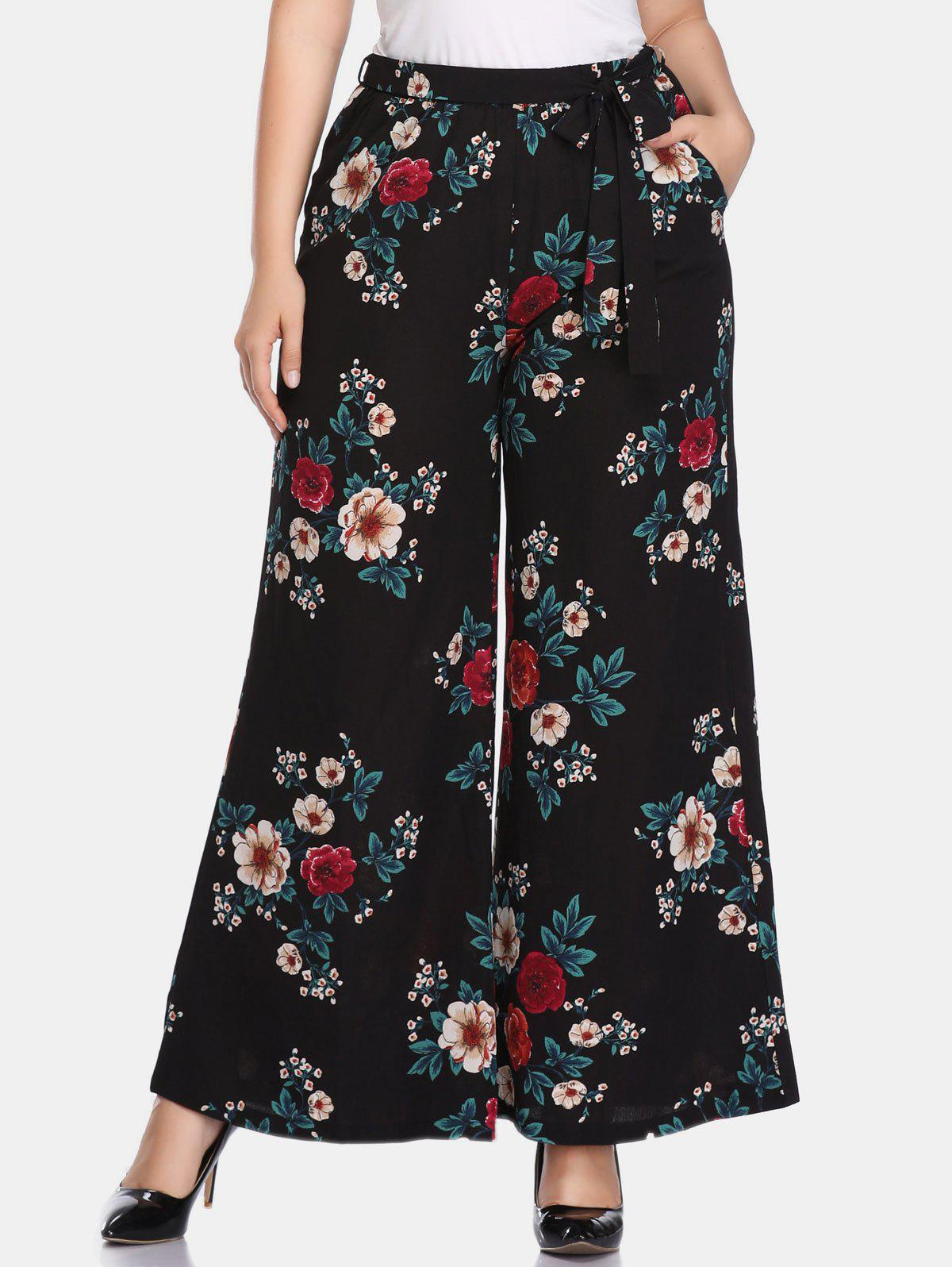 Store Floral Plus Size High Waisted Pants