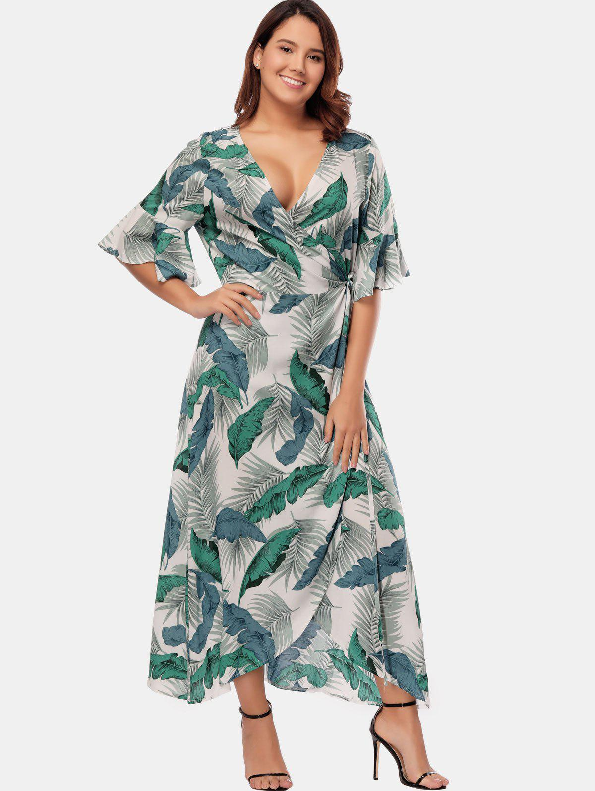 8cdb46293ce 35% OFF  Tropical Print Plus Size Wrap Dress