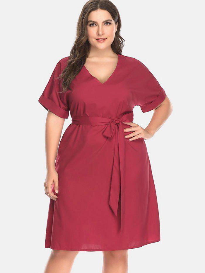 Chic V Neck Cuffed Plus Size Dress