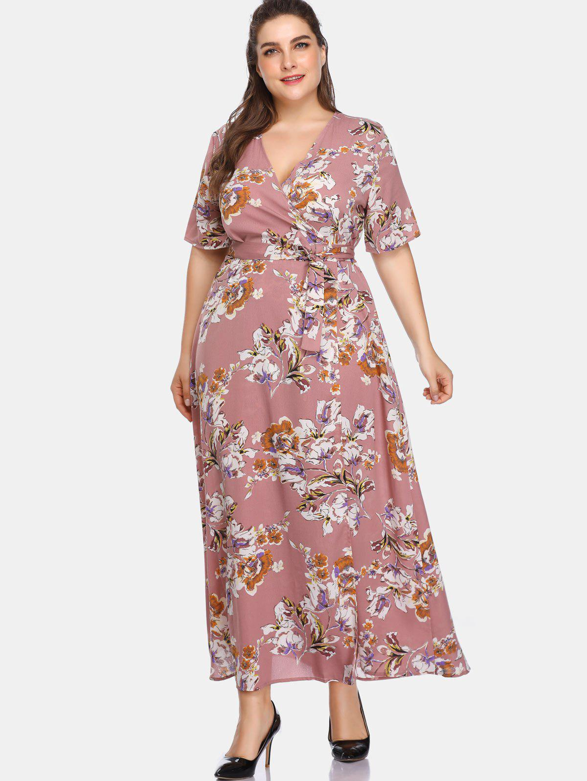 Sale Plus Size Floral Floor Length Dress