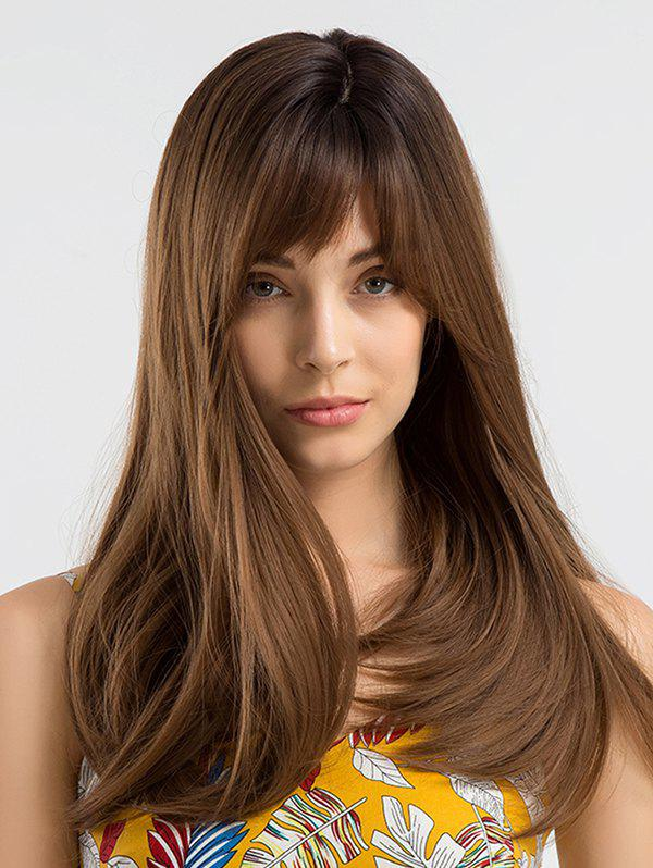Long Side Bang Colormix Straight Synthetic Wig