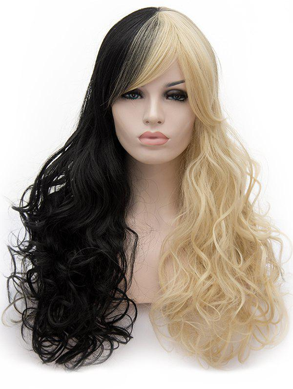 Online Long Inclined Bang Two Tone Curly Party Cosplay Synthetic Wig