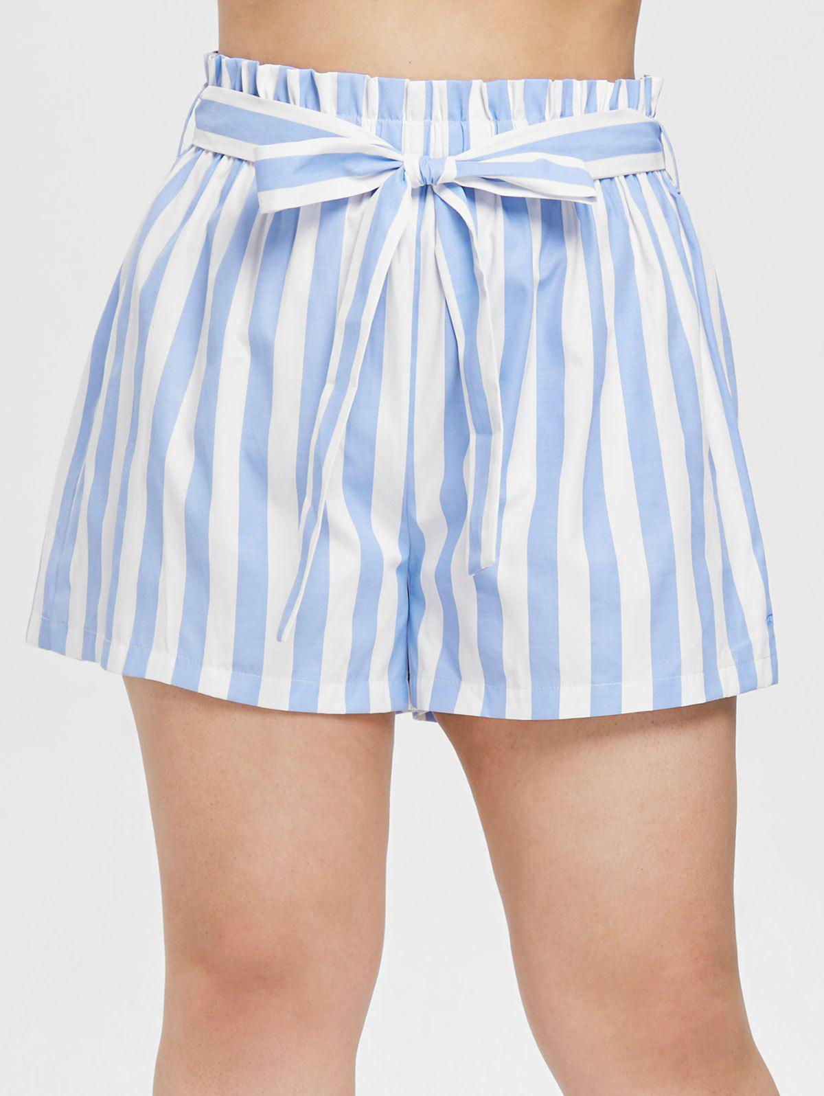 Sale Plus Size Striped Belted Shorts