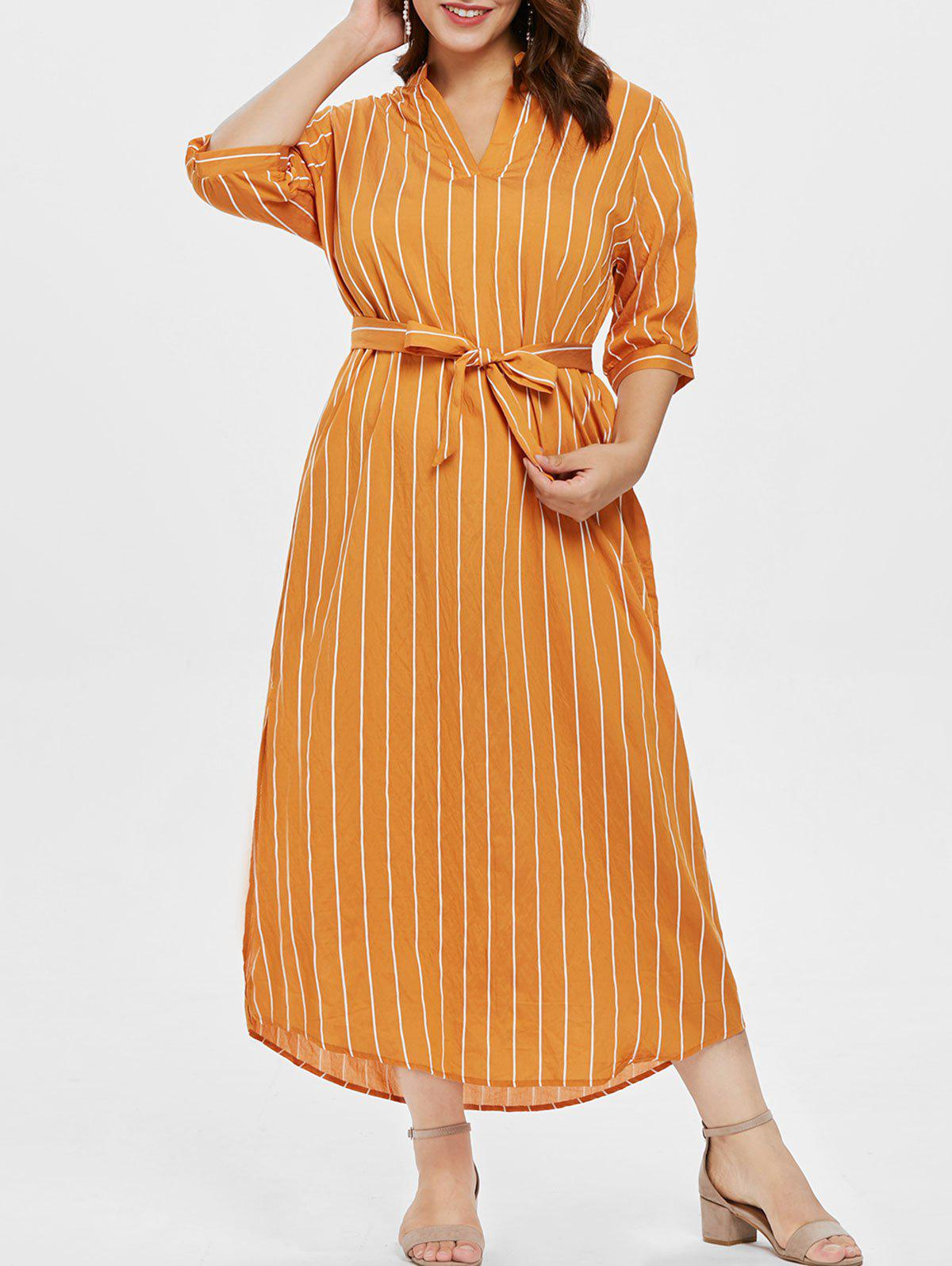 Outfits Half Sleeve Plus Size Striped Ankle Length Dress