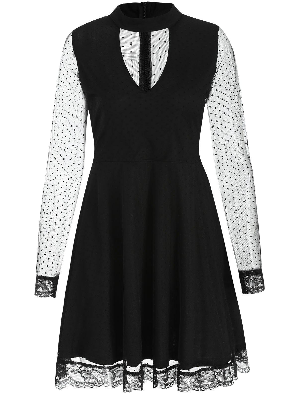 Unique Cut Out Mesh Skater Dress