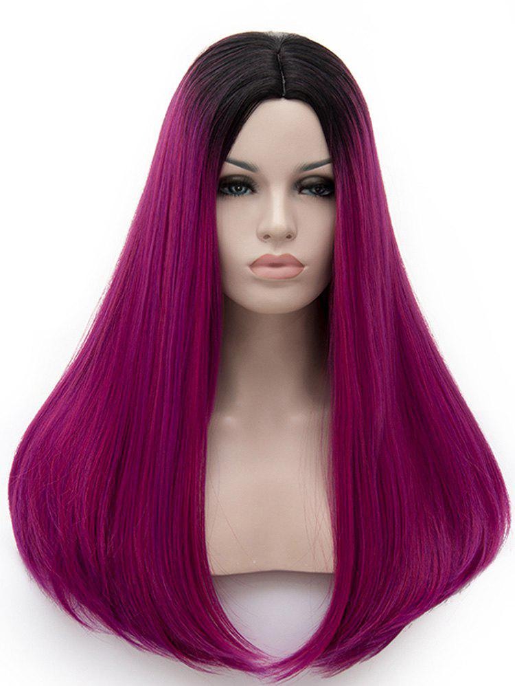 Trendy Center Parting Colormix Long Straight Party Cosplay Synthetic Wig