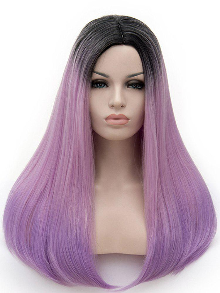 Unique Center Parting Colormix Long Straight Party Cosplay Synthetic Wig
