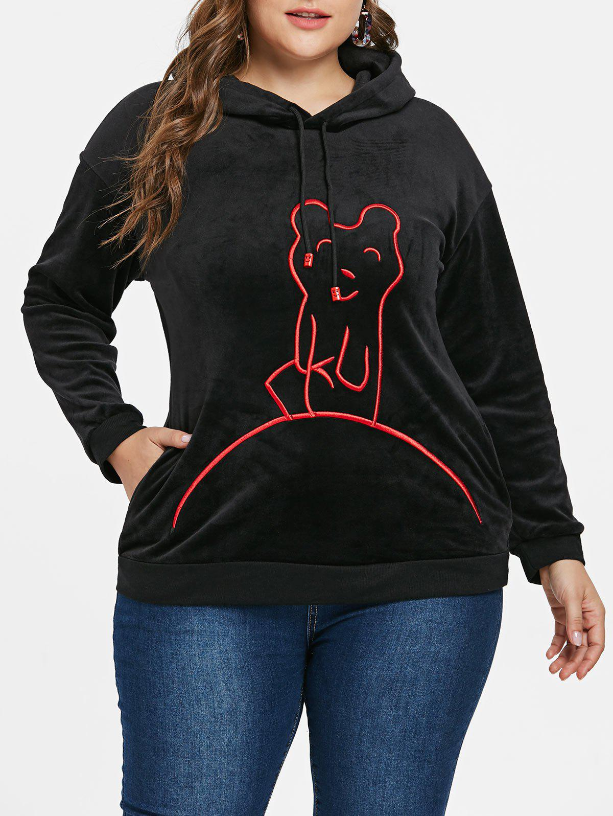 Affordable Plus Size Graphic Vevlet Hoodie