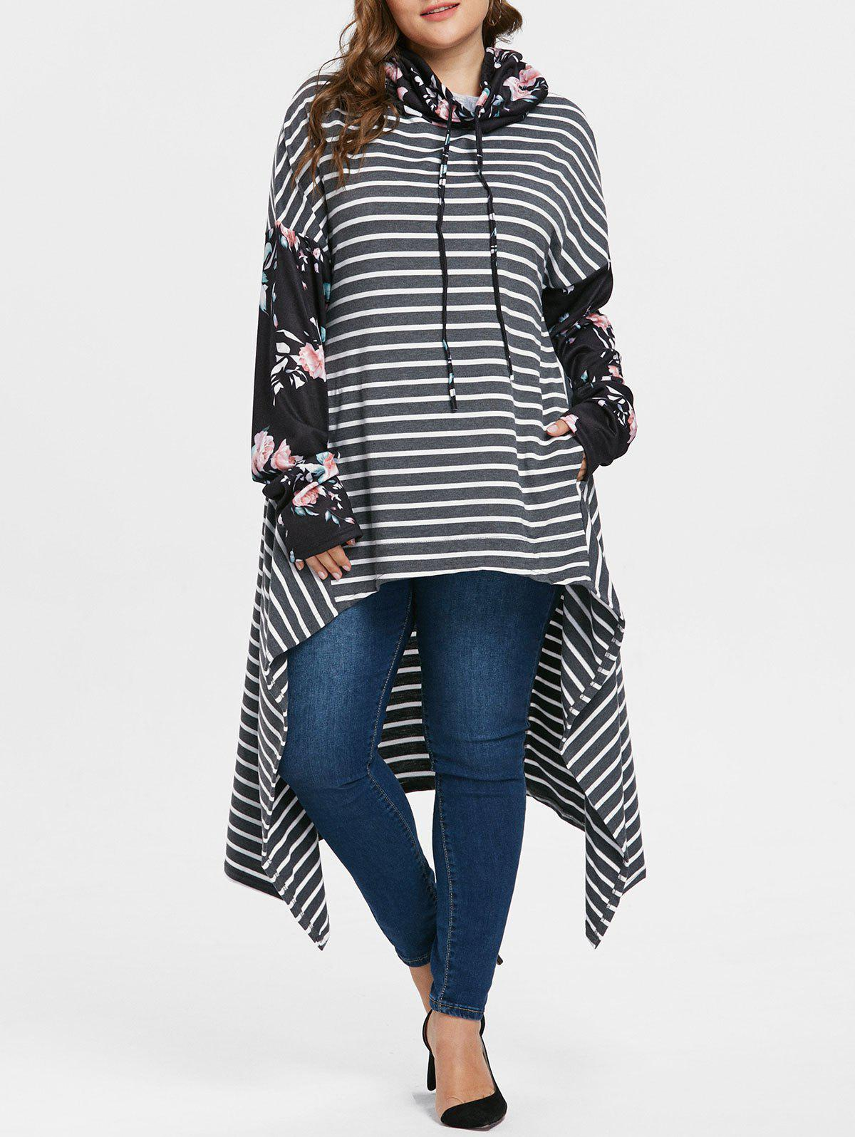 Affordable Floral Sleeve Plus Size Striped Asymmetrical Hoodie