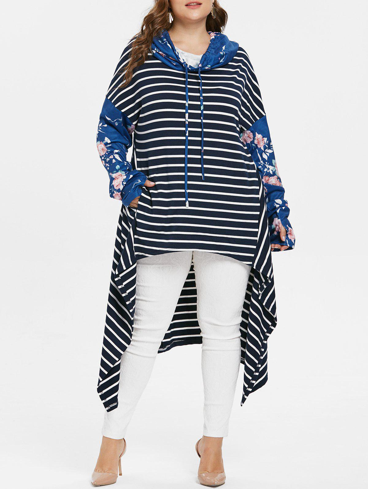 Fashion Floral Sleeve Plus Size Striped Asymmetrical Hoodie