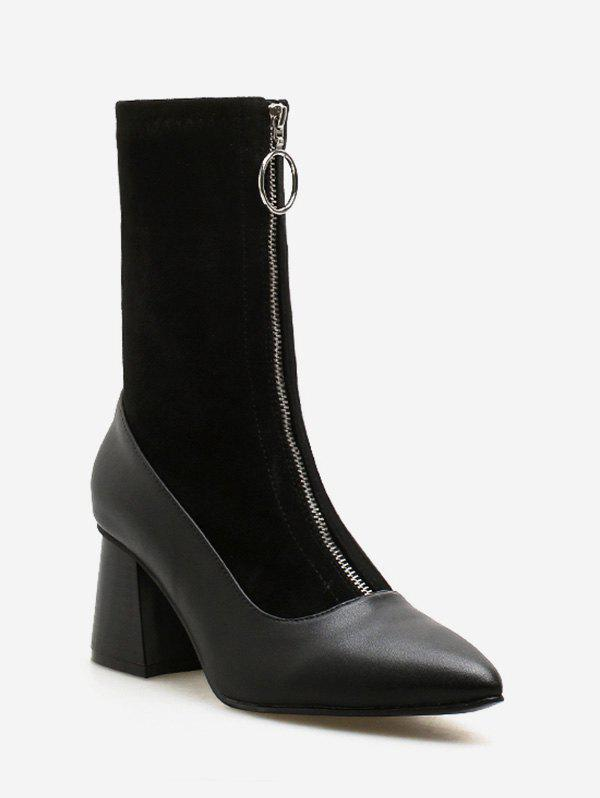 Online O-ring Zip Block Heel Pointed Toe Mid Calf Boots