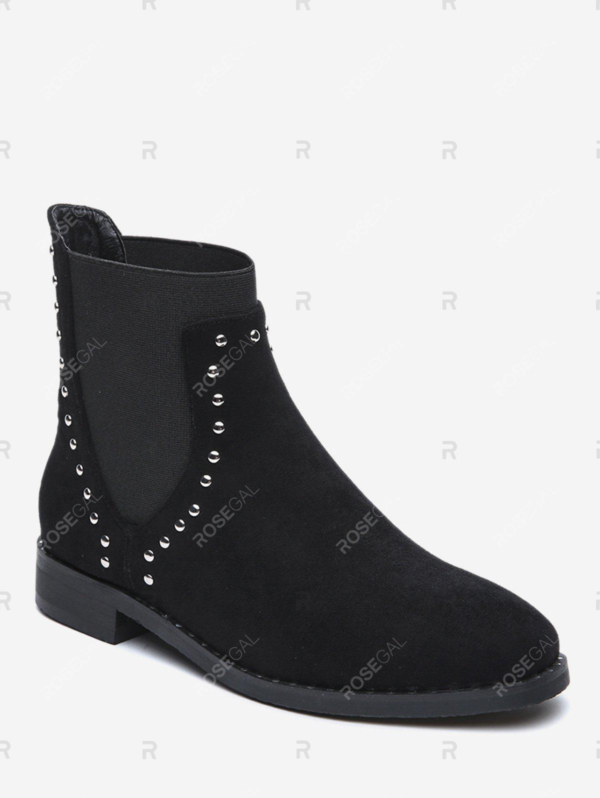 Best Stud Decorative Flat Chelsea Boots