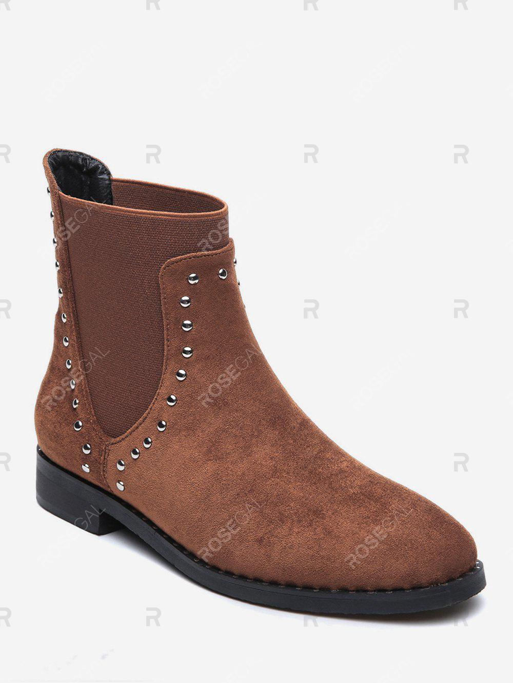 Affordable Stud Trim Round Toe Faux Suede Chelsea Boots