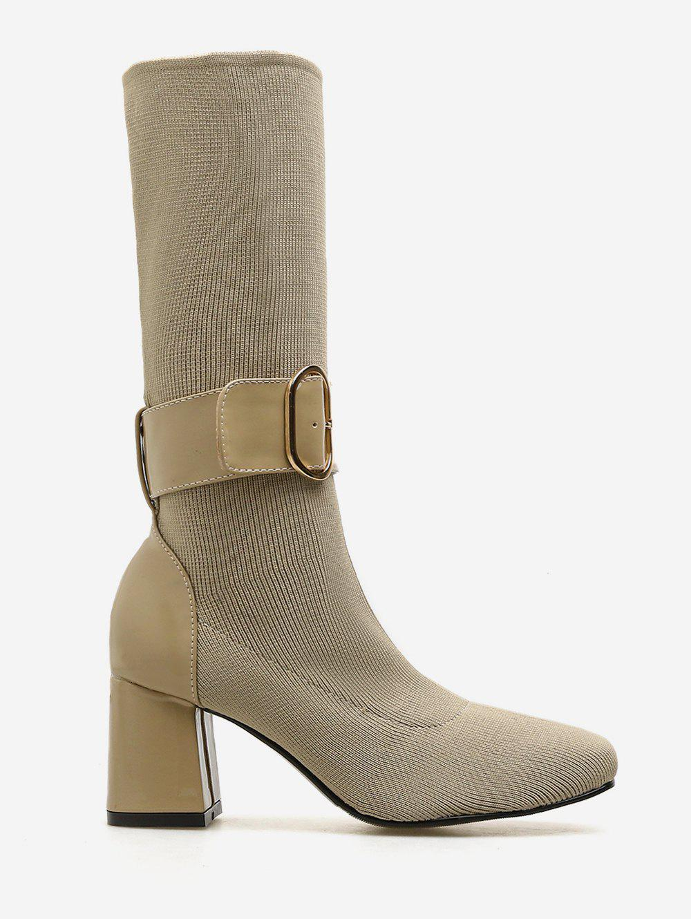 Cheap Belted Accent Chunky Heel Mid Calf Sock Boots