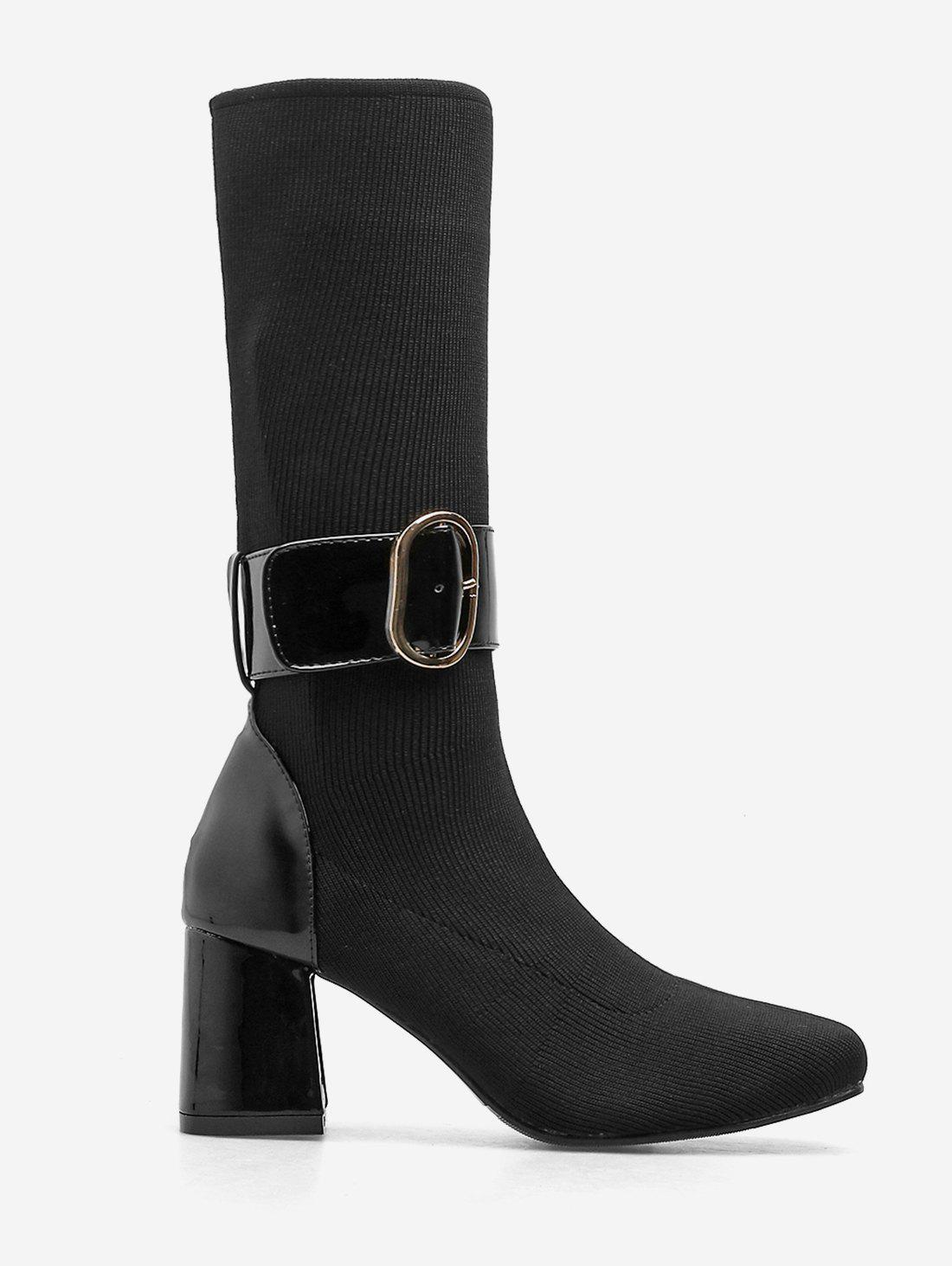 Discount Buckle Strap Chunky Heel Mid Calf Boots
