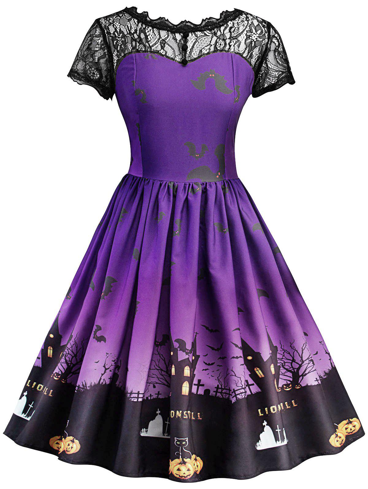 Affordable Vintage Lace Insert Halloween Dress