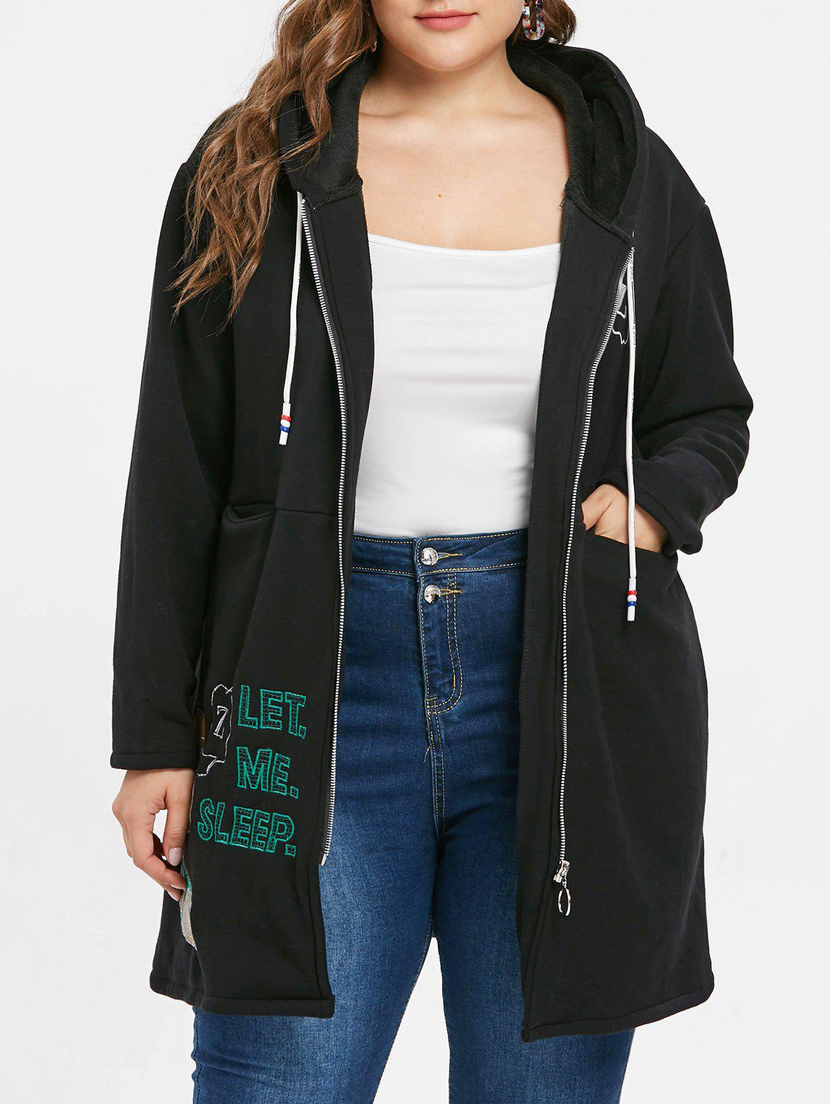 Cheap Plus Size Graphic Patched Long Hoodie