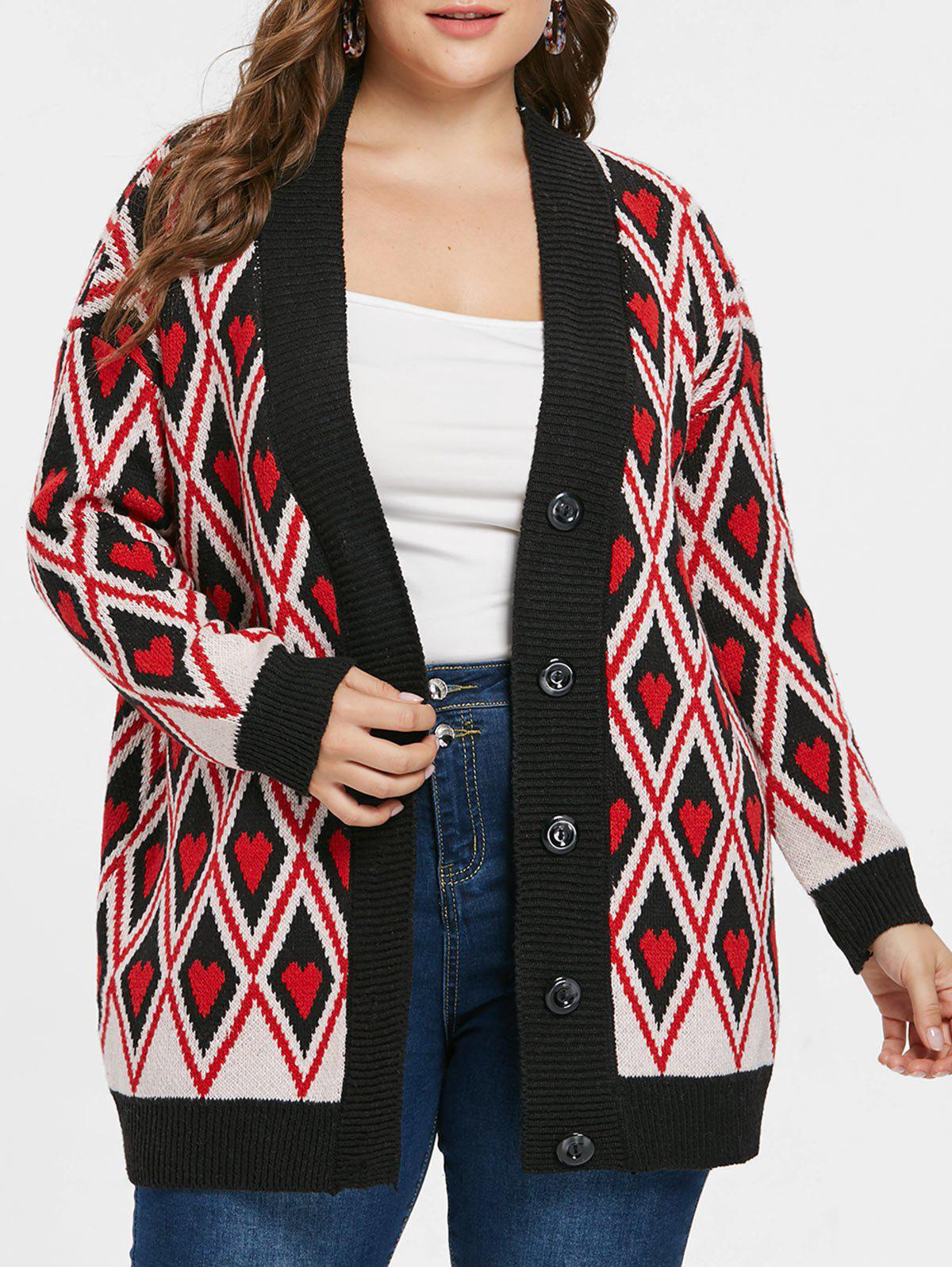 Best Button Rhombus and Heart Print Cardigan