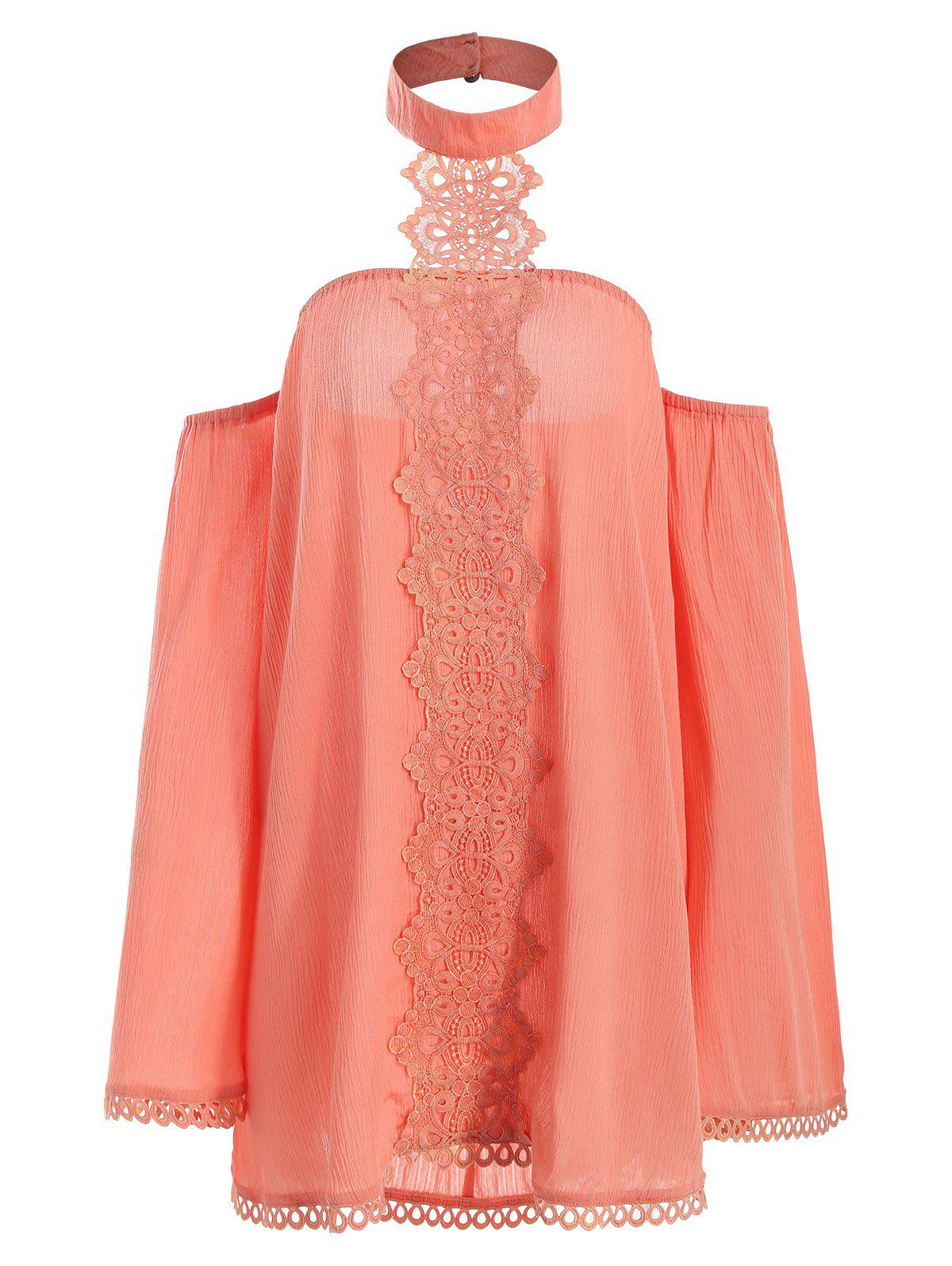 Fancy Halter Flare Sleeve Lace Insert Top