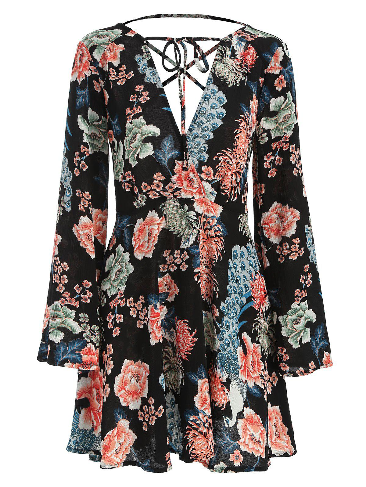 Trendy Criss Cross Floral Print Surplice Dress