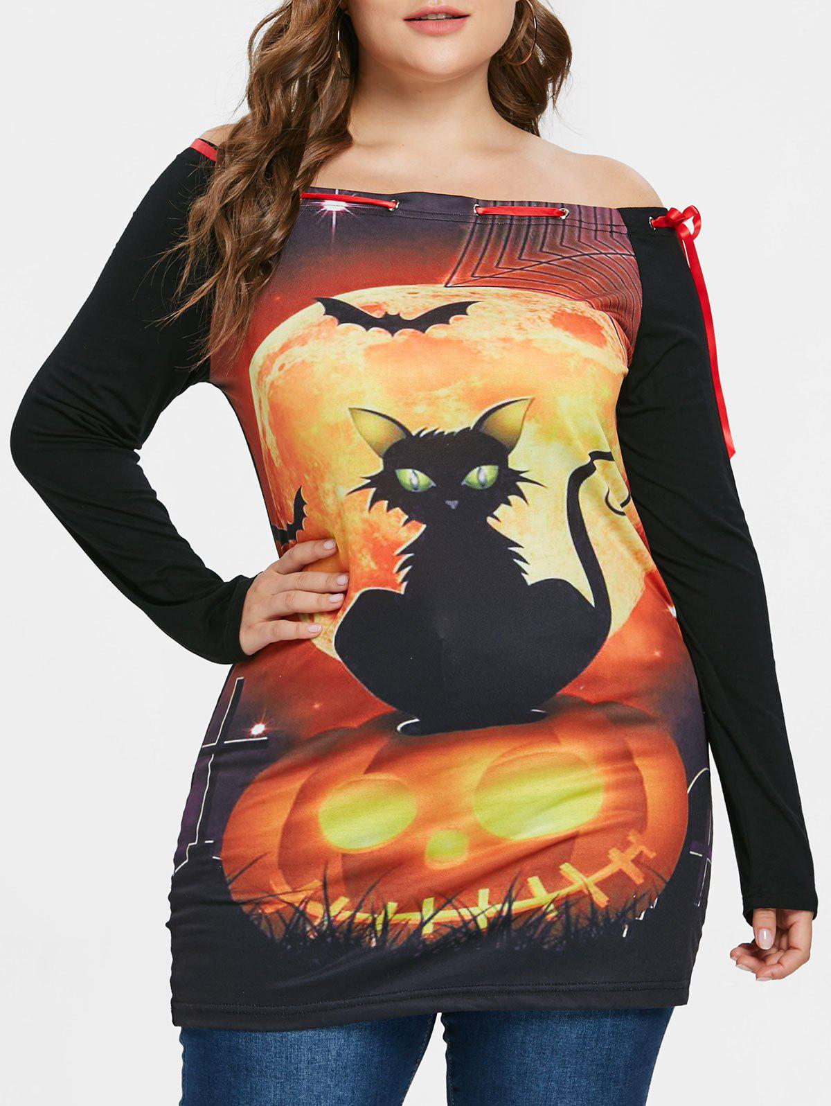 New Plus Size Printed Halloween T-shirt