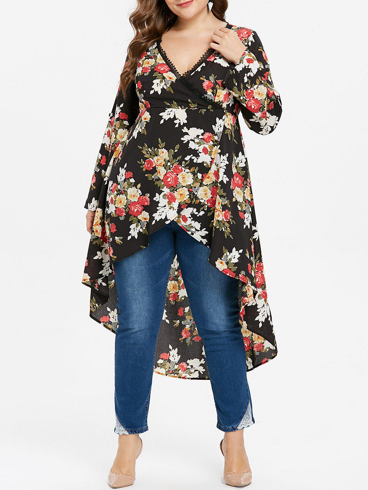 2019 Floral High Low Plus Size Blouse Rosegal Com