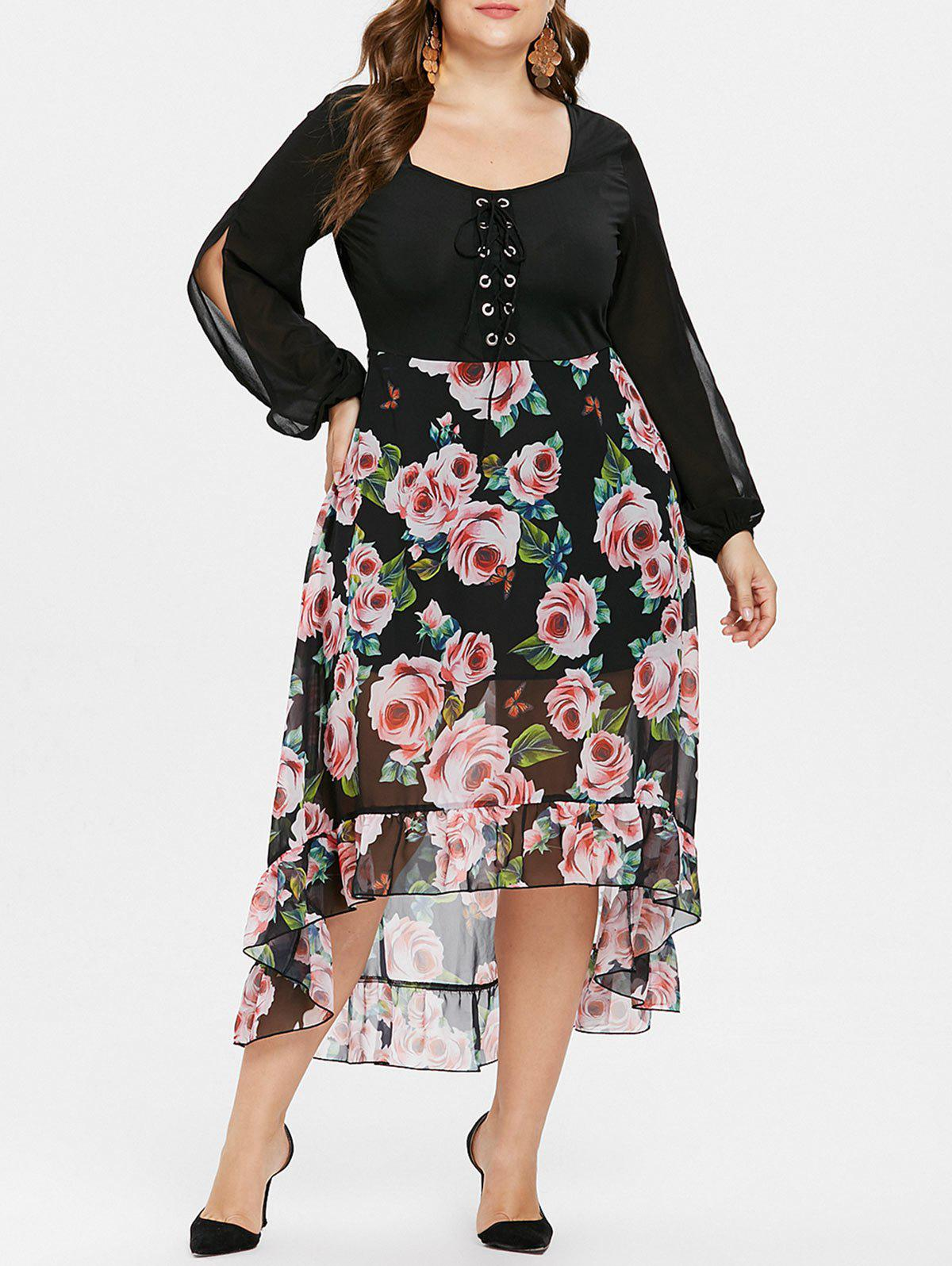 Cheap Plus Size Floral High Low Maxi Chiffon Dress