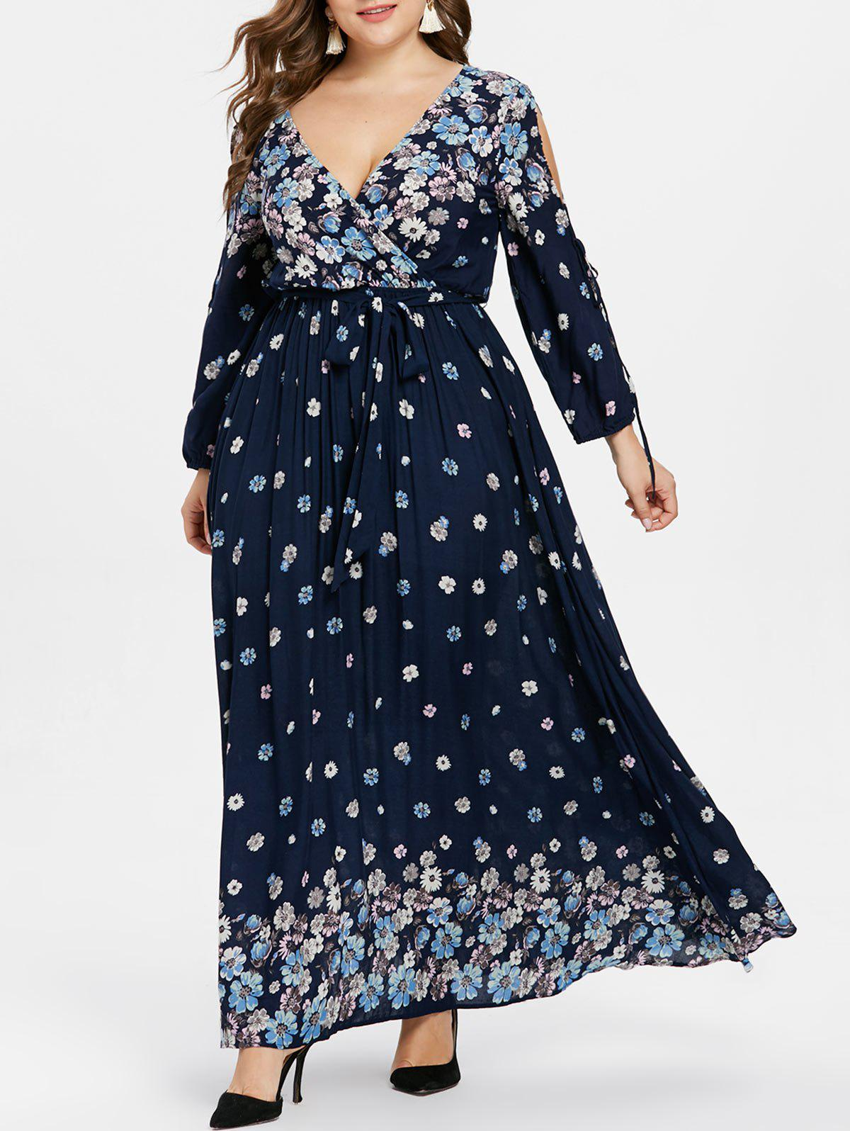 Store Plus Size Print Maxi Dress with Belt