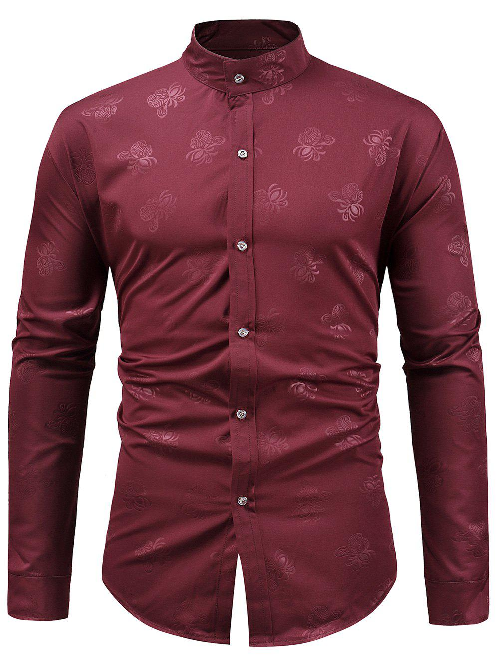 Hot Stand Collar Floral Print Casual Shirt