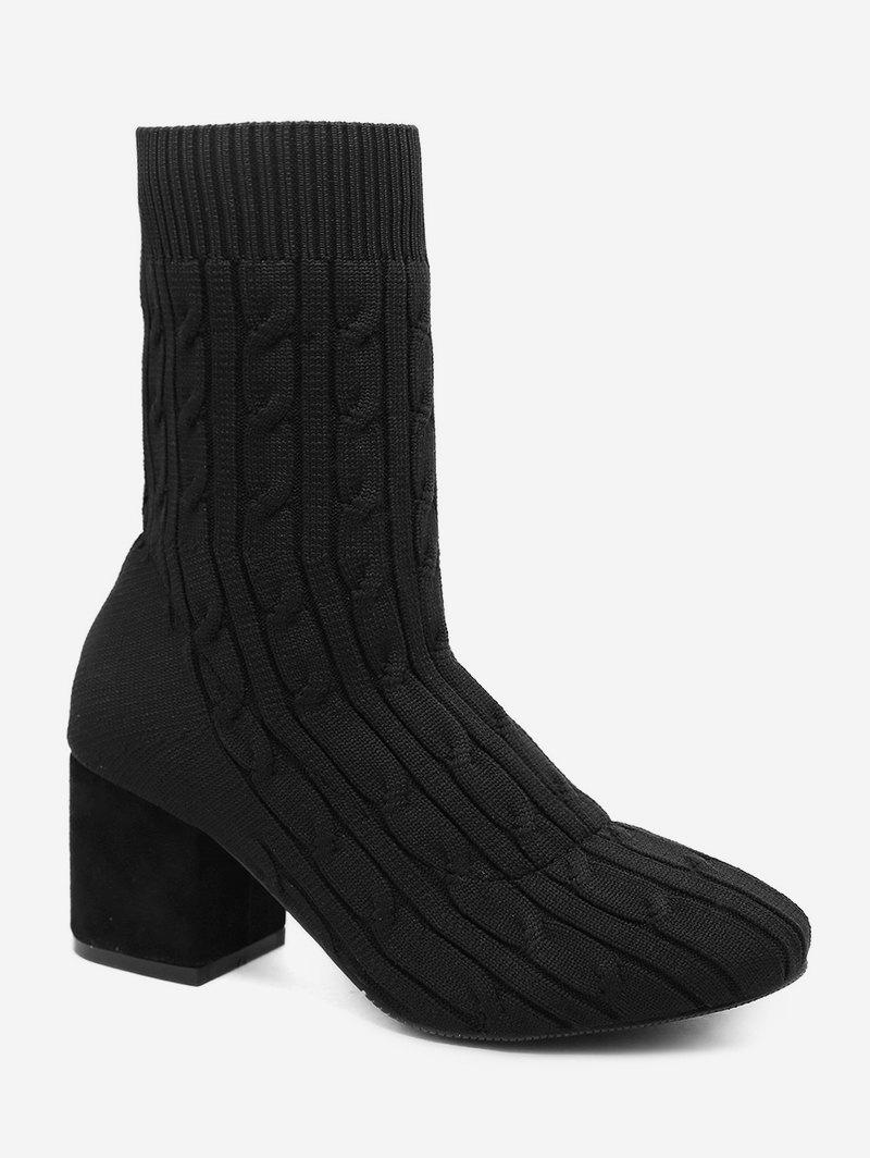 Affordable Plain Chunky Heel Cable Knit Sock Boots