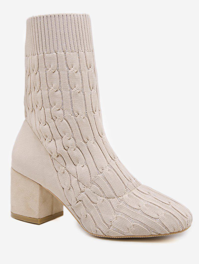 Trendy Plain Chunky Heel Cable Knit Sock Boots
