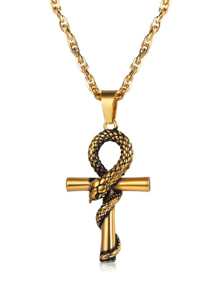 Unique Stainless Steel Snake Twisted on Cross Pendant Chain Necklace