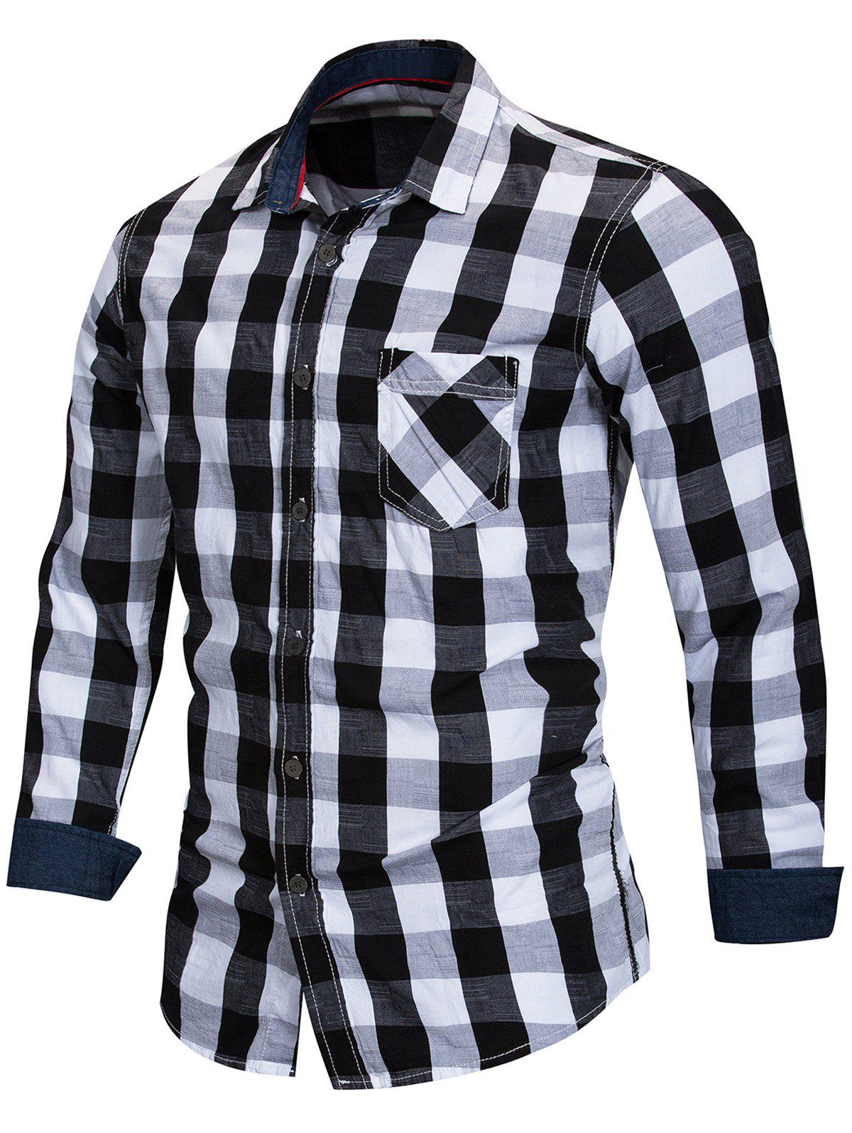 Shops Checked Print Button Up Shirt