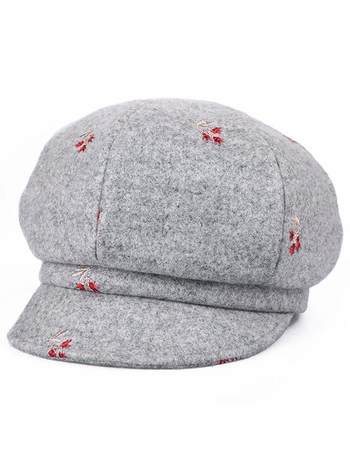 Hot Floral Embroidery Elegant Newsboy Cap