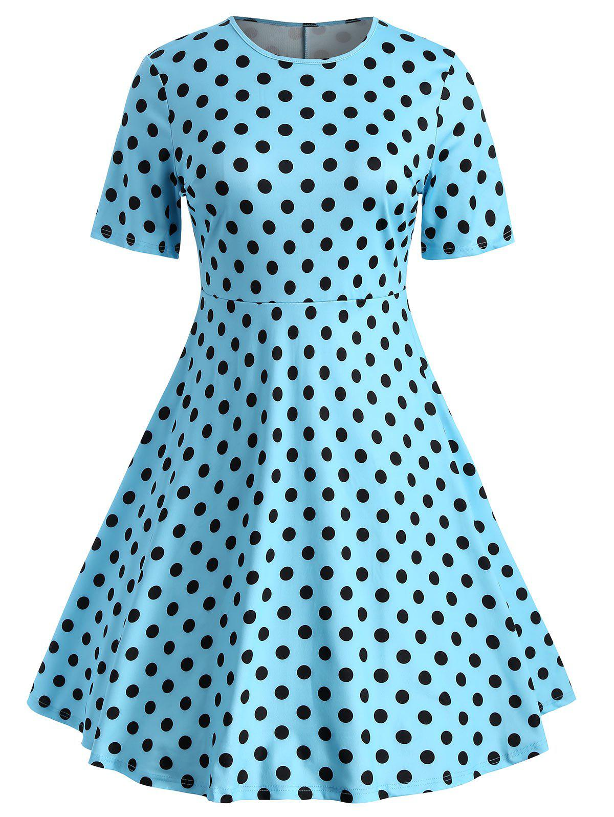 Sale Polka Dot Plus Size Flare Dress