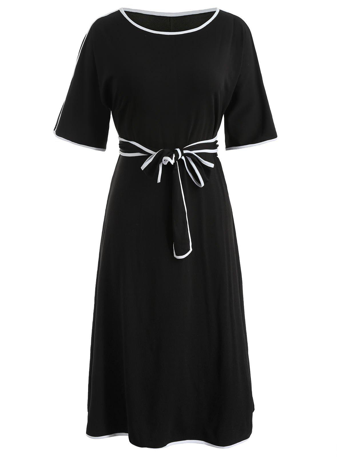 Latest Color Trim Plus Size Belted Dress