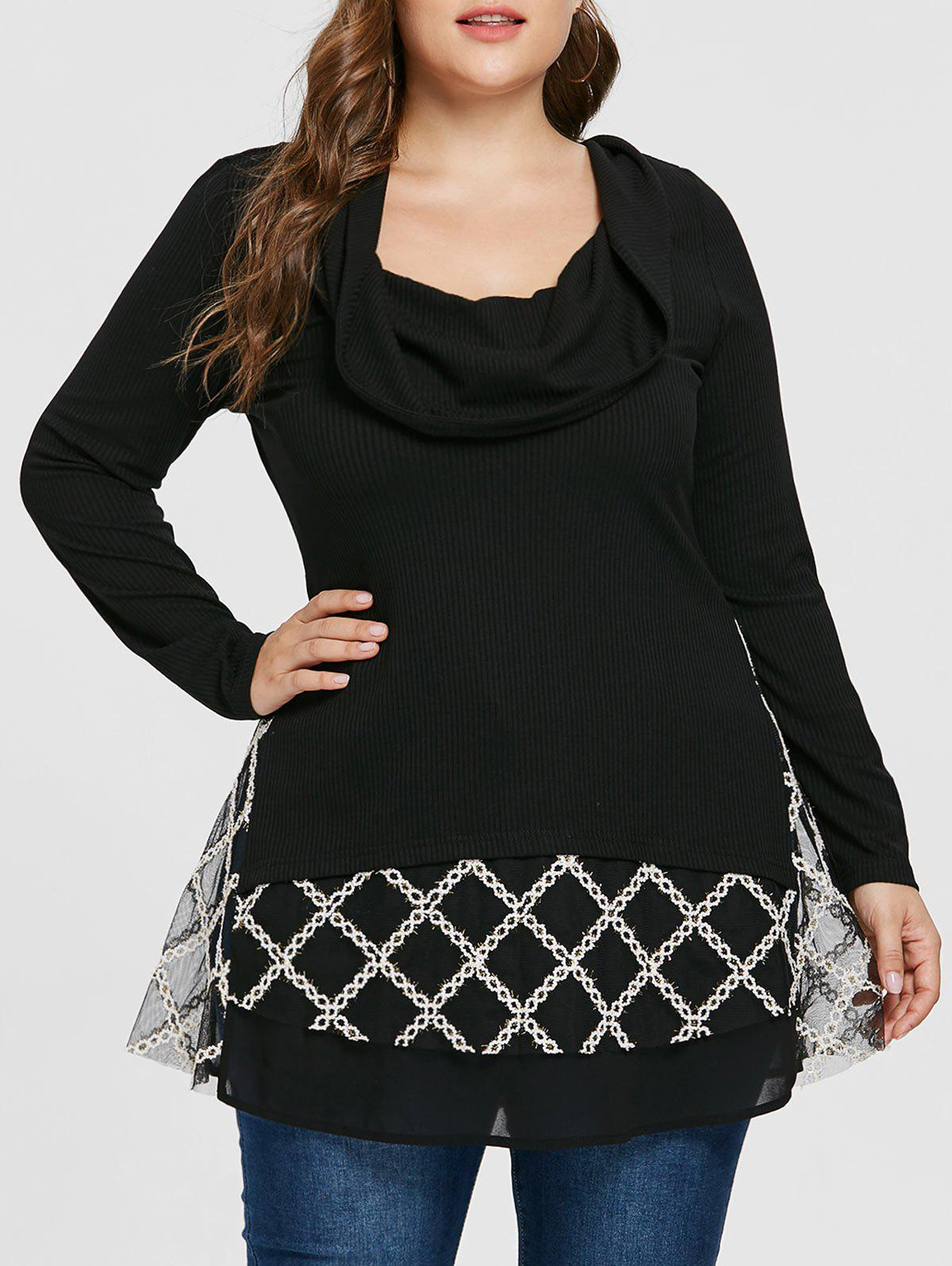 Hot Plus Size Turtleneck Contrast Crochet Ribbed Knitwear