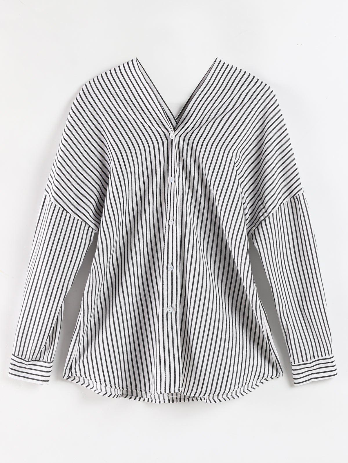 Best Plus Size Striped Button Up Blouse