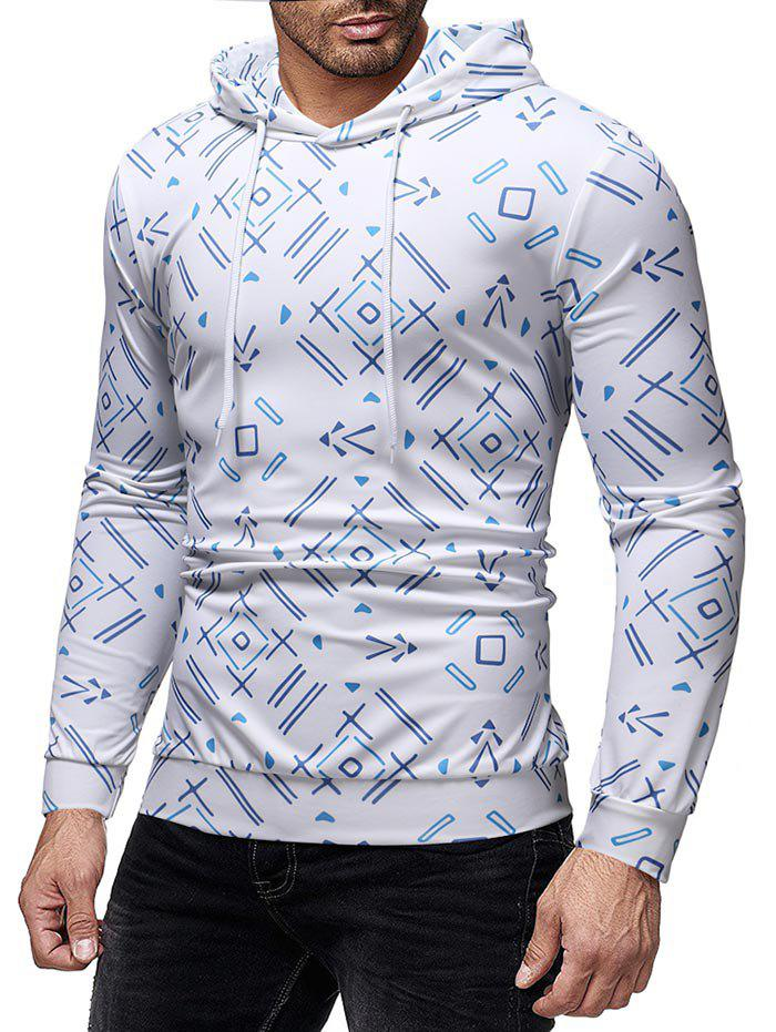 Shop Allover Geometric Printed Casual Hoodie