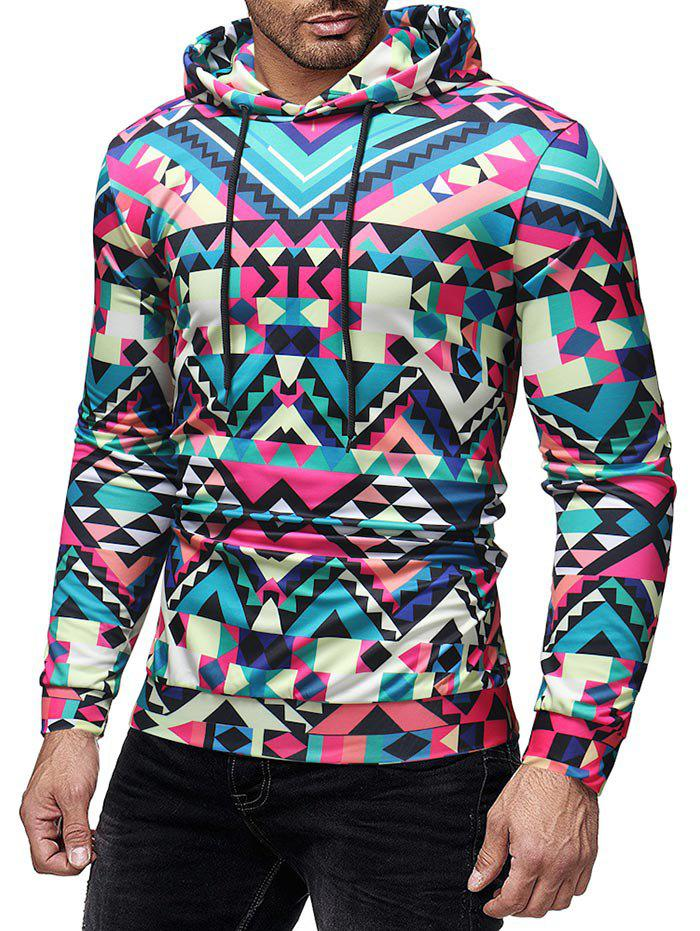Shop Colorized Geometric Printed Drawstring Hoodie