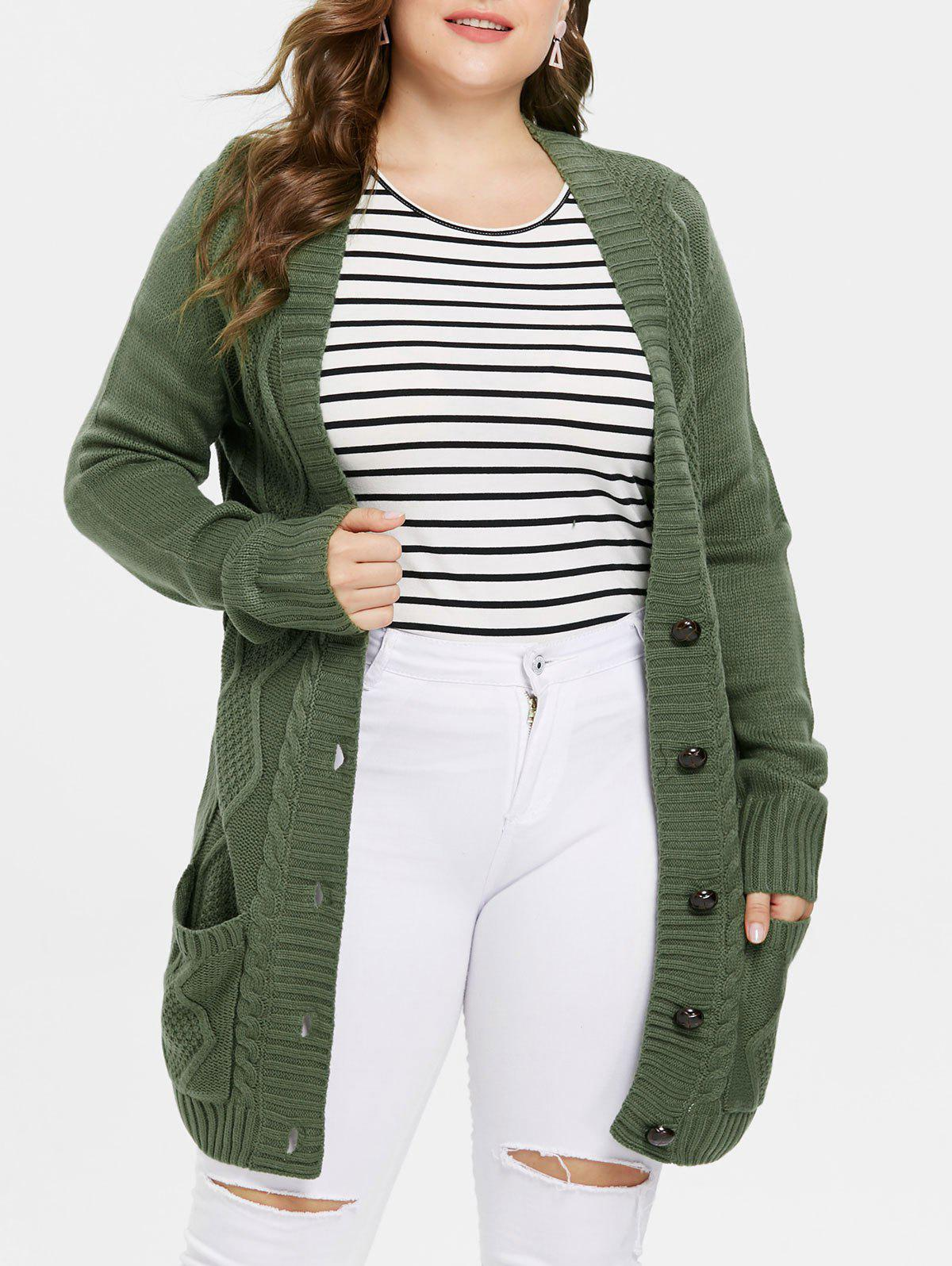 Hot Plus Size Button Up Front Pockets Cardigan
