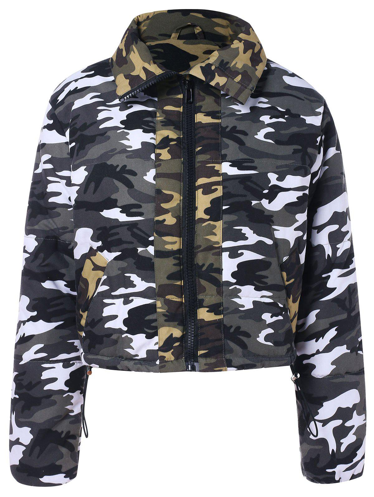 Cheap Camouflage Pattern Cropped Zipper Jacket