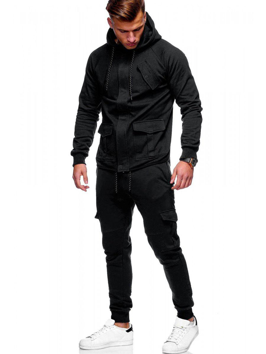 Outfits Solid Color Drawstring Pockets Hoodie Suit