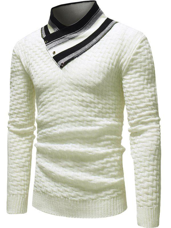 Cheap Color Block Collar Knit Sweater