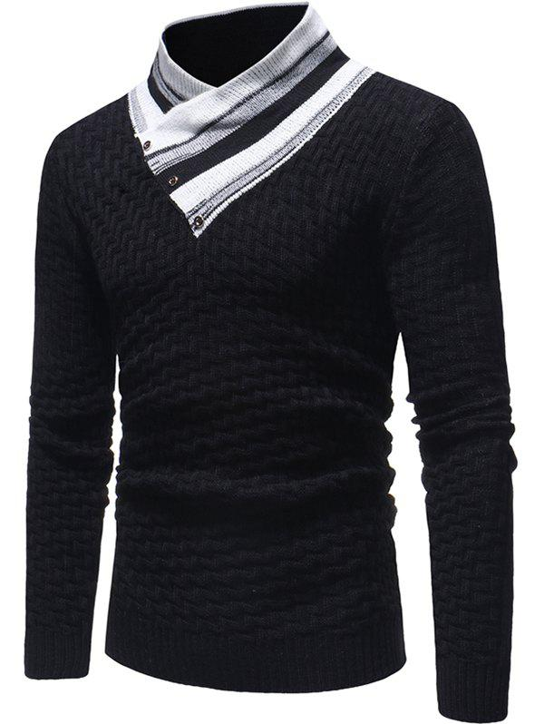 Affordable Color Block Collar Knit Sweater
