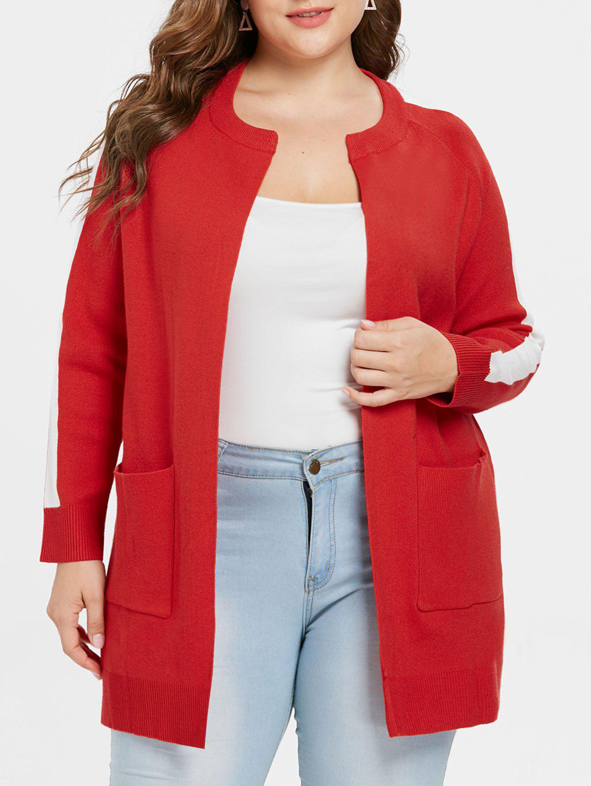 Discount Plus Size Two Tone Tunic Coat