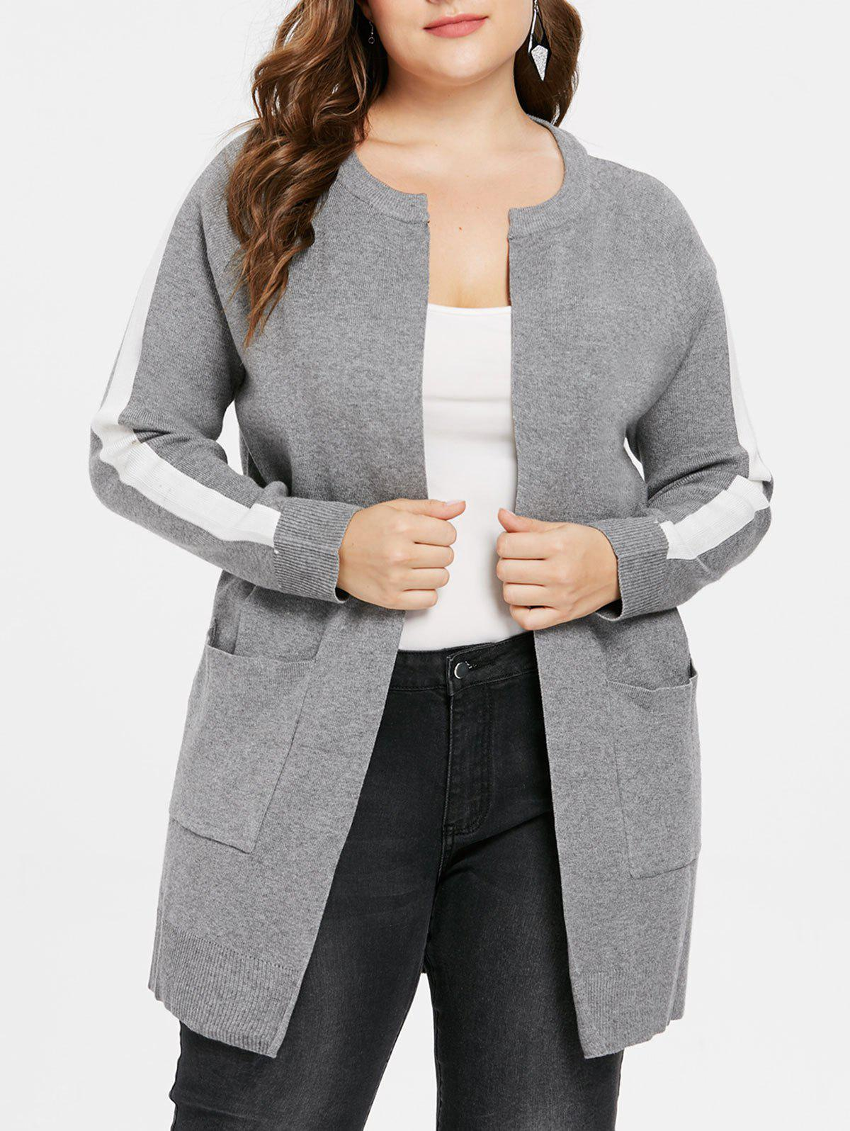 Online Plus Size Two Tone Tunic Coat