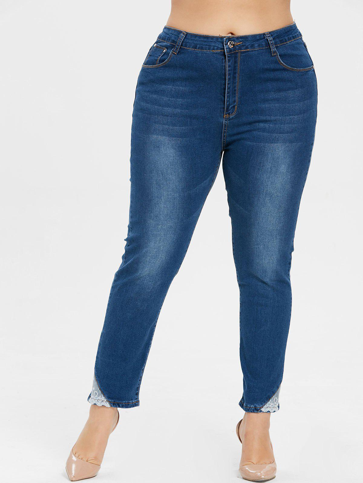 Cheap Plus Size Mid Waist Lace Brim Jeans